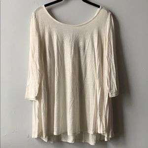 Cream Long Sleeve Tunic with Back Strap Detail